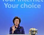 欧盟竞争委员会委员妮丽‧克罗丝质疑中国的网络资讯隐私及安全等问题。(摄影:GEORGES GOBET/AFP)