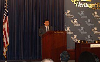 """刘兆玄在传统基金会的""""台美经贸关系之未来""""研讨会上发言。(摄影﹕王洋/大纪元)"""