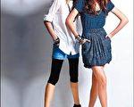多层次混搭穿出蓝调的丰富视觉感。图右:蓝色条纹洋装单穿之外,还可套上短裙展现另一种风貌。图左:白衬衫罩住丹宁短裤,配上内搭裤。(图片提供/CHICA)