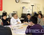 (順時針)邱潔芳、Jimmy Wong、Christ Wong、高美華、唐若望、高遠、Peter Neely。(攝影:楊天儀/大紀元)