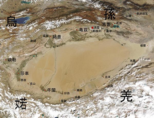 公元前一世纪的于阗国位置图。(公有领域)