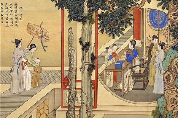 清焦秉贞《历代贤后故事图册》之《教训诸王》,描绘了明德马皇后在后宫调教诸位小王子的情景。(公有领域)