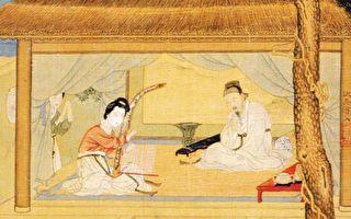 明 仇英《弹箜篌美人图》(局部),绢本设色。(公有领域)