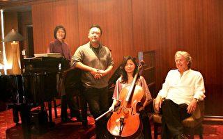 左二起艺术总监江靖波、大提琴顾美瑜及客席指挥Amos Talmon(图/乐兴之时提供)