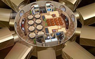 Vivos地下碉堡示意圖,除了十個放射狀、可容納兩百人的臥室之外,中間圓形的公共空間分上層與下層,內部有醫院、廚房及DNA儲藏庫。(圖片:AFP)