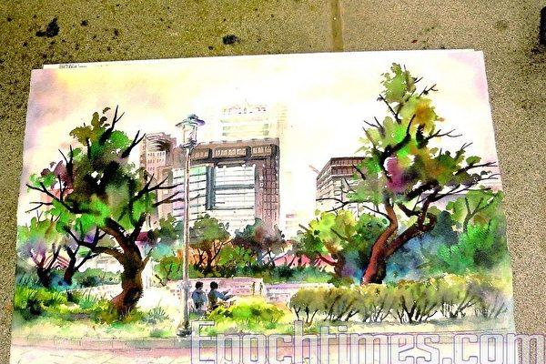 國立台北藝術大學一年級黃俊霖的水彩畫。(攝影:朱孝貞/大紀元)