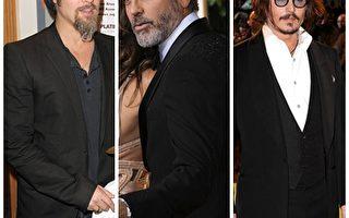 好莱坞三大影帝,布莱德‧彼特、强尼‧戴普和乔治‧克隆尼共同角逐争演《龙纹身的女孩》(图/Getty Images)