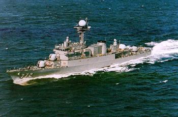 調查指出,3月26日南韓海軍巡邏艦「天安號」係遭北韓小型潛艦發射魚雷擊沉。圖為「天安號」檔案照。(AFP )