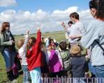 在Polder沿海草地,導遊亞尼克向孩子們介紹貝類、綿羊、植物及生態環境知識。