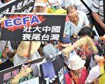 2010年6月26日台湾数千名抗议者上街游行示威,反对ECFA(两岸经济合作框架协议)。舆论关注于两岸更紧密后,大陆经济、政治任何的风吹草动以及对法治、人权的漠视将严重波及台湾。(法新社)