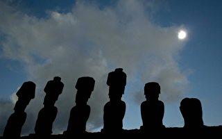智利复活岛上摩埃巨石像与日全食奇观。(AFP)