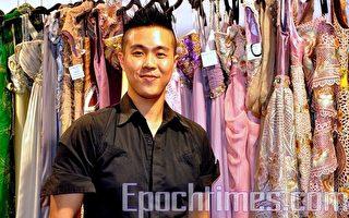 """印尼年轻华裔设计师Wiki Wu最近来港展出他设计的刺绣晚装。他赞扬新唐人""""全球汉服回归设计大奖赛""""是帮助华人认识中华文化的好机会。(摄影:邝天明/大纪元)"""