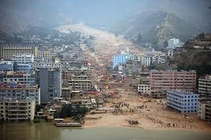 8.7舟曲特大泥石流災難,造成死傷人數巨大。(AFP)