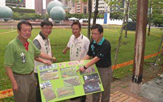 议员指出,中市花毯节现场大量洒水,造成草地泥泞,围起黄线,实在不像话。(摄影:黄玉燕/大纪元)
