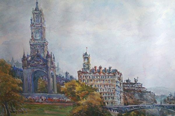 尤明春以纯熟的水彩写实技巧,画出爱丁堡城堡美景。(尤明春提供)