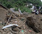 雲南省保山市隆陽區瓦馬鄉山體滑坡現場。(AFP)
