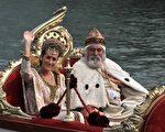 威尼斯经典船赛上, 金碧耀眼的贵族船(AFP)