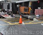 凡那比颱風豪大雨造成富田橋美山路段社區地下室嚴重積水與泡水過的廢棄家具。(攝影:楊小敏/大紀元)