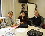 昆士市亞顧會11月份例會,(左起)市民李健遠、會議主持邱潔芳、共同主席唐若望律師出席了會議。(攝影楊天儀/大紀元)