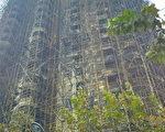 上海静安区28层高的胶州教师公寓楼大火后情形(来源:上海市民提供)