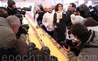 組圖:世界最長柴形聖誕蛋糕巴黎問世