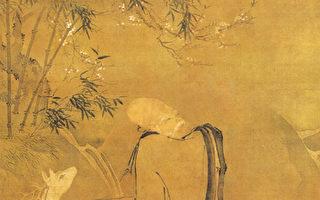 明.呂紀〈南極老人圖〉畫中對空拱手似在恭迎遠客的老者,為古代神話故事中的南極老人,又稱「壽星」。(網路圖片)
