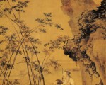 明.杜堇〈题竹图〉此图绘宋代著名诗人苏轼题竹的故事,画面正中高帽长须、执笔题竹者即为苏轼。(网路图片)