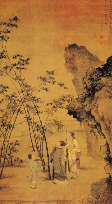 明.杜堇〈題竹圖〉此圖繪宋代著名詩人蘇軾題竹的故事,畫面正中高帽長鬚、執筆題竹者即為蘇軾。(公有領域)
