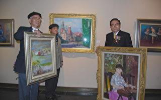 画坛三友,左起:戴峰照、沈哲哉、郭国铨。(郭综合医院提供)