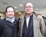 大韓法務士協會高層嚴德洙(左)與崔麟壽(攝影:曾嘉連  / 大紀元)