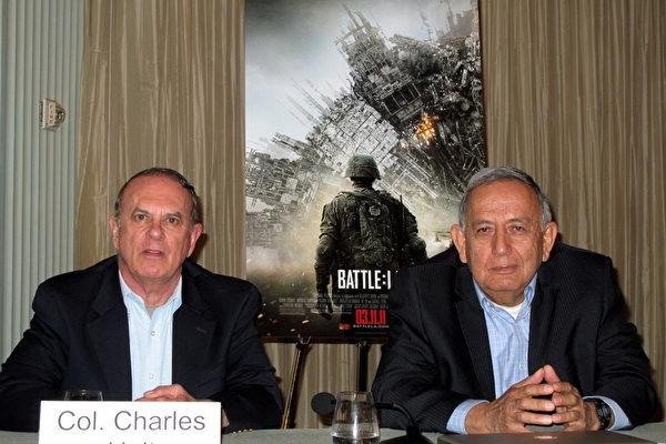 曾经目击UFO的美国退役军官查尔斯‧霍特(Charles Halt)和罗伯特‧萨拉斯(Robert Salas)(摄影:刘菲/大纪元)