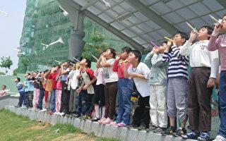 創意空氣火箭起飛 文雅國小學童玩科學