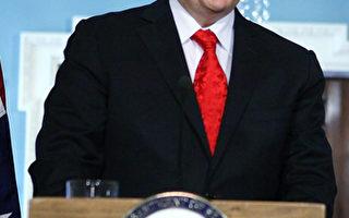 2011年5月2日星期一,澳大利亞外長陸克文在美國首都華盛頓布魯金斯研究院(Brookings Institution)演講。(Alex Wong/Getty Images)