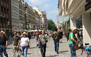 德國最受歡迎的購物街——慕尼黑考芬格大街 (摄影:黄芩/大紀元)