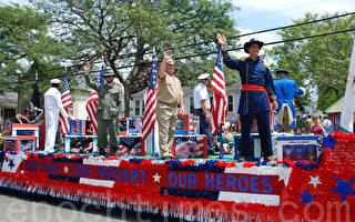 身着不同时期美国陆海空军装的军人,展现著美国军队过去和现在的英雄和光荣。(摄影:Al Iannoptti/大纪元)
