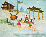 伦纳德收藏的中国画:天门。他认为,佛法最接近真理。(伦纳德提供)