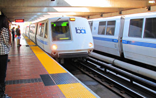 跨灣區多個城市的舊金山捷運系統BART上班日平均載客量30多萬人。(攝影:馬有志/大紀元)