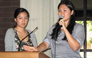 毕业于名校的赵氏两姐妹在大洛杉矶教育展上现身说法,抨击虎妈模式。左为格蕾丝,右为蜜雪儿。(摄影:刘菲/大纪元)