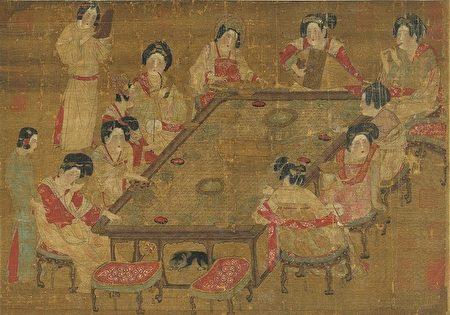 唐.唐人宮樂圖。國立故宮博物院 藏。(公有領域)