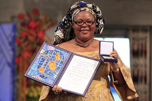 今年的諾貝爾和平獎三位得主之一,利比里亞專欄作家格鮑伊(Leymah Gbowee)(CORNELIUS POPPE/AFP ImageForum)