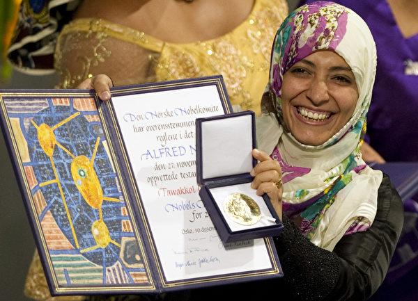 今年的諾貝爾和平獎三位得主之一,也門婦女權益活動家卡曼(Tawakkul Karman)(ODD ANDERSEN/AFP ImageForum)