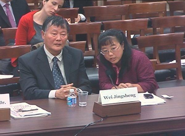 中国民主运动海外联席会议主席魏京生(左前)和秘书长黄慈萍(右)(摄影:吴天明/大纪元)