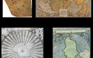 圖2. 數幅十六世紀繪製的神秘南極地圖。它們比公認的南極大陸發現時間整整早了兩至三百年。(轉載原文)