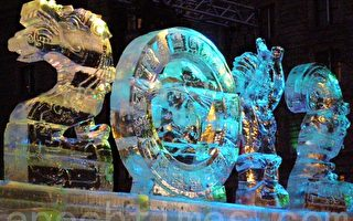 點題作「大週期」以龍及瑪雅圖騰等造型﹐刻出「2012」四個數字。(攝影﹕楊天儀/大紀元)