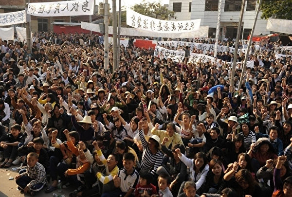 去年12月,乌坎村中共官员全被赶走,中共首度失去控制权。(STF PETER PARKS AFP ImageForum)