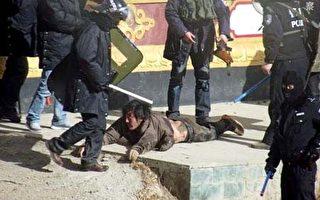 這張今年1月24日中共防暴警察踩踏和拖拽抗議者的照片由活動組織「自由西藏學生」團體提供,暫時沒有證實。(圖片來源:自由西藏學生)