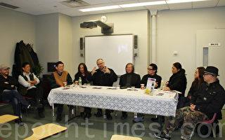 (右起)蕭維、李美華、鄭連傑、費明傑、黃翔、William Rock、麥芒、榮偉在「當代藝術﹕東方和西方」專題討論會上。(攝影﹕蔡溶∕大紀元)