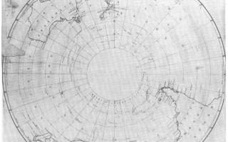"""这幅十九世纪初期俄国人绘制的地图显示,当时西方人还不知道南极洲的存在。直到西元一八一八年,这块大陆才被""""发现""""。然而,早在那之前的好几千年前,南极大陆是否可能已经被一个来历不明、高度发展的文明探勘和绘测过?(图:商周出版 提供)"""