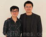「無名小站」創辦人簡志宇(左)、北加台灣大專校友會會長張嘉原。(攝影:劉凡迪/大紀元)