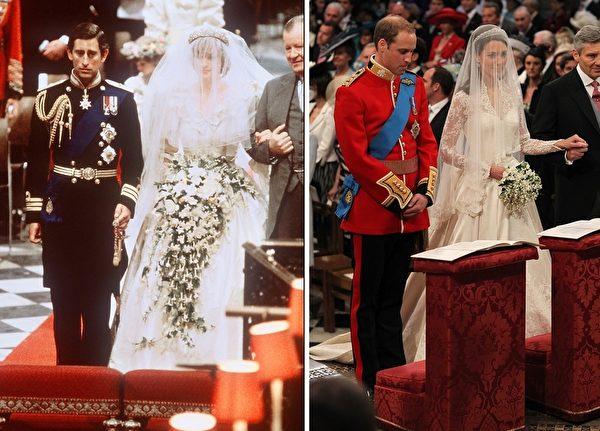 相隔一世代,黛安娜王妃(左图右)与剑桥公爵夫人凯萨琳(右图右)走过许多相同道路,也面临诸多相同挑战。(AFP)